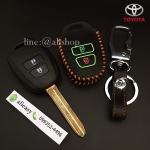 ซองหนังแท้ ใส่กุญแจรีโมทรถยนต์ Toyota New Vios,Yaris 2 ปุ่ม รุ่นดอกกุญแจเรืองแสงด้าย สีส้ม