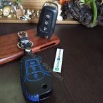 ซองหนังแท้ ใส่กุญแจรีโมทรถยนต์ รุ่น ด้ายสีทรูโทน All New Ford Ranger,Everest 2015-18 สีน้ำเงิน