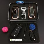 กรอบ-เคส ใส่กุญแจรีโมทรถยนต์ รุ่นเรืองแสง ABS All New Ford Ranger,Everest 2015-17 Key 2-3 ปุ่ม สีชมพู