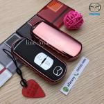 กรอบ-เคสยาง TPU ใส่กุญแจรีโมทรถยนต์ Mazda 2,3/CX-3,5 Smart Key 2 ปุ่ม สีชมพู (ไม่รวมพวง) /ต่อชิ้น