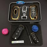 กรอบ-เคส ใส่กุญแจรีโมทรถยนต์ รุ่นเรืองแสง ABS All New Ford Ranger,Everest 2015-17 Key 2-3 ปุ่ม สีทอง
