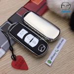 กรอบ-เคสยาง TPU ใส่กุญแจรีโมทรถยนต์ Mazda 2,3/CX 5 2018 Smart Key 3 ปุ่ม สีเงิน (ไม่รวมพวง) /ต่อชิ้น