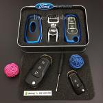 กรอบ-เคส ใส่กุญแจรีโมทรถยนต์ รุ่นเรืองแสง ABS All New Ford Ranger,Everest 2015-17 Key 2-3 ปุ่ม สีน้ำเงิน