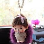 ตุ๊กตา ด.ช พิคุ+สร้อยมุก+พู่ ที่ห้อยหน้ารถ จากแฟชั่นเกาหลี สีม่วง