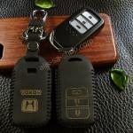 ซองหนังแท้ ใส่กุญแจรีโมท Honda Accord All New City Smart Key 3 ปุ่ม รุ่น ด้ายสีดำ
