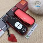 กรอบ-เคสยาง TPU ใส่กุญแจรีโมทรถยนต์ Mazda 2,3/CX-3,5 Smart Key 2 ปุ่ม สีแดง (ไม่รวมพวง) /ต่อชิ้น
