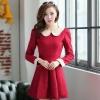 ชุดแซกทำงานเรียบร้อยสวยๆ สีแดง คอปก แขนยาว ผ้าคอตตอล ไซส์ S M L