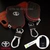 กระเป๋าซองหนัง ใส่กุญแจรีโมท รุ่นมินิซิบรอบโลโก้เหล็ก Toyota New Yaris 2014-17 แบบ Push Start 2 ปุ่ม