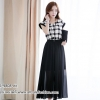 ชุดเดรสยาวสีดำ พิมพ์ลายตาราง กระโปรงยาว สวยเก๋ น่ารักๆ สไตล์เกาหลี