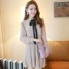 ชุดเดรสทำงานแนววินเทจ สีน้ำตาลอ่อน ผ้าชีฟอง คอเต๋า แขนยาว กระโปรงพลีท เป็นชุดเดรสหวาน แบบสวย น่ารัก สไตล์แฟชั่นเกาหลี ( M L )
