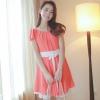 ชุดเดรสทำงานสีส้มโอรส แขนสั้น กระโปรงบาน ให้ลุคสวยหวาน ดูดี เรียบร้อย เหมาะกับสาวออฟฟิศ คุณครู ราชการ ( M L XL )