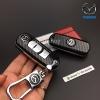 กรอบ-เคส ใส่กุญแจรีโมทรถยนต์ Mazda 2,3/CX-5 2018 Smart Key 3 ปุ่ม ลายเคฟล่า