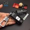 กรอบ-เคส ใส่กุญแจรีโมทรถยนต์ ลายเคฟล่า Mazda 2,3/CX-3,5 Smart Key 2 ปุ่ม