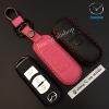 ซองหนังแท้ ใส่กุญแจรีโมทรถยนต์ Mazda 2-3/CX- 5 Smart Key 3 ปุ่ม รุ่นสีสัน