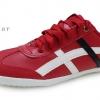 [พร้อมส่ง]รองเท้าผ้าใบแฟชั่น สีแดงคาดขาว รุ่น Osaka