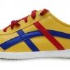[พร้อมส่ง]รองเท้าผ้าใบแฟชั่น สีเหลืองคาดน้ำเงิน รุ่น Osaka