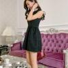 ชุดออกงานสวยๆ ชุดเดรสแฟชั่นสไตส์เกาหลี ชุดเดรสสั้น สีดำ คอกลมประดับมุก แขนกุด เอวเข้ารูป ซิปหลัง กระโปรงบาน ผ้าคอลตอล เนื้อผ้าลายดอกไม้ สวยมาก ๆ