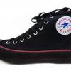 [พร้อมส่ง]รองเท้าผ้าใบแฟชั่น บูทหุ้มข้อ สีดำสาปแดง รุ่น 222