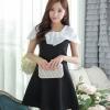ชุดเดรสสั้นสีดำ แขนสั้น เอวเข้ารูป กระโปรงบาน ช่วงคอเย็บผ้าสีขาว สวยดูดี