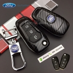 กรอบ-เคส ใส่กุญแจรีโมทรถยนต์ All New Ford Ranger,Everest 2015-17 Key 2-3 ปุ่ม ลายเคฟล่า