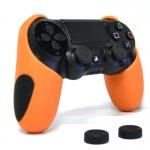 Thicker Half Skin Cover ซิลิโคนเคสแบบหนา สีส้มสำหรับจอย PS4 แถมฟรี ซิลิโคนครอบปุ่มอนาล็อก 2 ชิ้น