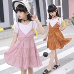 เดรสเด็กหญิง น่ารักสีชมพูแและสีน้ำตาล size 110 120 130 150