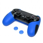 Thicker Half Skin Cover ซิลิโคนเคสแบบหนา สำหรับจอย PS4 สีน้ำเงิน แถมฟรี TPU ครอบปุ่มอนาล็อก 2 ชิ้น