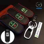 ซองหนังแท้ ใส่กุญแจรีโมทรถยนต์ รุ่นเรืองแสงด้ายสี Mazda 2,3/CX-3,5 Smart Key 2 ปุ่ม