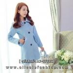 เสื้อโค้ทกันหนาวสีฟ้า ทรงหลวม ผ้าเนื้อดี ลุคสวย ดูดี สไตล์เกาหลี