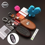 ซองหนังแท้ ใส่กุญแจรีโมทรถยนต์ รุ่นหนังนิ่ม โลโก้-เงิน Nissan Serena 2017-18 Smart Key 4 ปุ่ม