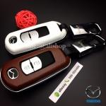 กรอบ-เคสหนัง ใส่กุญแจรีโมทรถยนต์ รุ่น Mazda 2,3/CX-3,5 2018 Smart Key 2 ปุ่ม