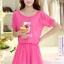 ชุดเดรสสั้นน่ารักๆ สีชมพู ผ้าชีฟอง สกรีนตัวเลข คอกลม เอวยืด ซับใน ขนาดไซส์ XL thumbnail 5