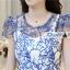 ชุดเดรสยาวสวยหรู โทนสีน้ำเงินขาว ปักลายสวยเก๋ เอวคาด กระโปรงสีขาวผ้าชีฟอง thumbnail 13