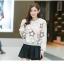 เสื้อแฟชั่นเกาหลีน่ารักๆ สีเบจ พิมพ์ลายเก๋ๆ ผ้าขนนุ่มสบาย คอกลม แขนยาว น่ารัก