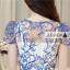 ชุดเดรสยาวสวยหรู โทนสีน้ำเงินขาว ปักลายสวยเก๋ เอวคาด กระโปรงสีขาวผ้าชีฟอง thumbnail 12