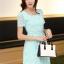 ชุดเดรสลูกไม้สีเขียว คอกลม แขนสั้น แนวเกาหลี สวยหวาน น่ารักๆ thumbnail 6