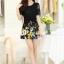 ชุดเดรสสั้นลายดอกไม้ เสื้อผ้าลูกไม้สีดำ เย็บต่อด้วยกระโปรงสั้นลายดอกไม้สีเหลือง เป็นชุดเดรสแฟชั่นน่ารักๆ สไตล์เกาหลี ( S,M,L,XL,) thumbnail 10