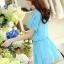 ชุดเดรสสั้นน่ารักๆ สีฟ้า ผ้าชีฟอง สกรีนตัวเลข คอกลม เอวยืด ซับใน ขนาดไซส์ L thumbnail 6