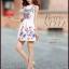 ชุดเดรสสั้นสีขาวลายดอกไม้สีสันสดใส แขนกุด เอวเข้ารูป สวยหวานสไตล์เกาหลี ไซส์ L thumbnail 6
