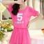ชุดเดรสสั้นน่ารักๆ สีชมพู ผ้าชีฟอง สกรีนตัวเลข คอกลม เอวยืด ซับใน ขนาดไซส์ XL thumbnail 2