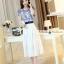 ชุดเดรสยาวสวยหรู โทนสีน้ำเงินขาว ปักลายสวยเก๋ เอวคาด กระโปรงสีขาวผ้าชีฟอง thumbnail 7