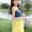 ชุดเดรสสั้นแฟชั่นเกาหลี สีเหลือง เสื้อแต่งเป็นผ้ายีนส์เย็บต่อด้วยกระโปรงผ้าแก้ว เป็นชุดเดรสแนวหวานน่ารัก สวย เรียบร้อย ดูดี ( S M L XL ) thumbnail 2