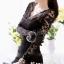มินิเดรสลายลูกไม้ คอ v แขนยาว สีดำ ไซส์ M thumbnail 2