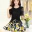 ชุดเดรสสั้นลายดอกไม้ เสื้อผ้าลูกไม้สีดำ เย็บต่อด้วยกระโปรงสั้นลายดอกไม้สีเหลือง เป็นชุดเดรสแฟชั่นน่ารักๆ สไตล์เกาหลี ( S,M,L,XL,) thumbnail 8