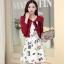 ชุดทำงานแฟชั่นเกาหลีสวยๆ มินิเดรสกระโปรงสั้น ชุดเซ็ท 2 ชิ้น ชุดเดรสสั้นพิม์ลายน่ารักๆ + เสื้อคลุมเก๋ๆ สีเบจ( M L XL XXL )