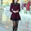 ชุดทำงานแฟชั่นเกาหลี ชุดเดรสสั้นลายสก๊อตสีแดงดำ คอปก แขนยาว ปลายกระโปรงแต่งด้วยผ้าแก้ว ,S M L XL thumbnail 9