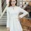 ชุดเดรสสั้นแฟชั่นเกาหลี มินิเดรสสั้นสีขาว คอปักมุก แขนยาว เป็นชุดเดรสสวยๆ แนวหวานน่ารัก เรียบร้อย ดูดี สามารถใส่ออกงานได้ ( M L XL ) thumbnail 2