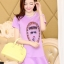 ชุดเดรสสั้นแฟชั่นเกาหลี มินิเดรสสีม่วง พิมพ์ลายหน้าผู้หญิงเก๋ๆ เป็นชุดเดรสลำลองให้ลุคสวยหวาน น่ารัก thumbnail 1