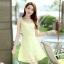 ชุดเดรสแฟชั่นเกาหลี ชุดเดรสน่ารัก ชุดเดรสสั้น ชุดเดรสสวย ๆ ชุดเดรสลูกไม้ คอกลม แขนกุด กระโปรงบาน ( S,M,L,XL )