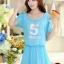 ชุดเดรสสั้นน่ารักๆ สีฟ้า ผ้าชีฟอง สกรีนตัวเลข คอกลม เอวยืด ซับใน ขนาดไซส์ XL thumbnail 1